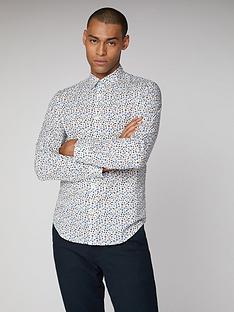 ben-sherman-long-sleeved-floral-shirt-off-white