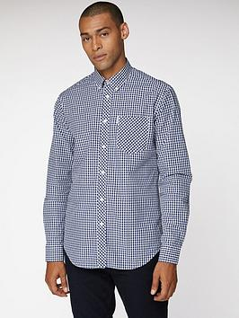 ben-sherman-gingham-shirt-dark-blue