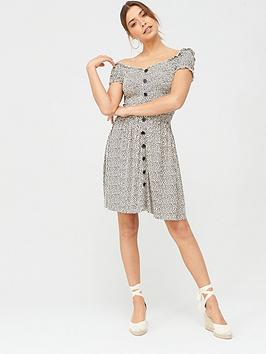 V by Very V By Very Bardot Puff Sleeve Jersey Dress - Animal Print Picture