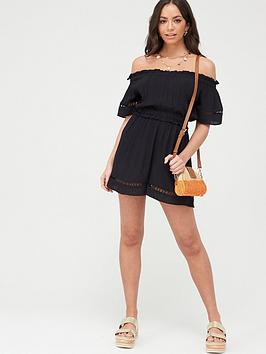 V by Very V By Very Crinkle Lace Trim Bardot Beach Playsuit - Black Picture