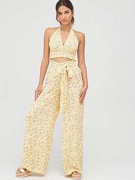 V by Very V By Very Crinkle Crop Co-Ord Beach Top - Yellow Picture