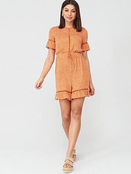 V by Very V By Very Lace Trim Playsuit - Print Picture