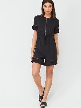 V by Very V By Very Lace Trim Playsuit - Black Picture