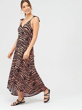 V by Very V By Very Dipped Hem Wrap Jersey Dress - Zebra Print Picture
