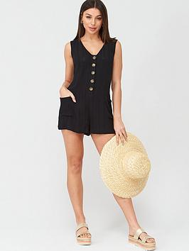 V by Very V By Very Button Detail Beach Playsuit - Black Picture