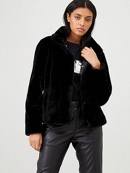 HUGO Hugo Faux Fur Coat - Black Picture