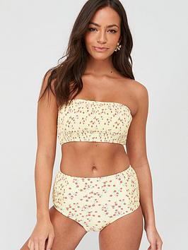 V by Very V By Very Shirred Bandeau Bikini Top - Yellow Picture