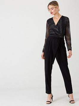 Wallis Wallis Sparkle Mesh Sleeve Jumpsuit - Black Picture