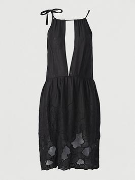 V by Very V By Very Embroidered Hem Beach Dress - Black Picture