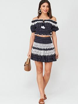 V by Very V By Very Lace Trim Bardot Co-Ord Top - Navy Picture
