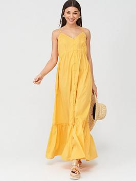 V by Very V By Very Button Through Cotton Beach Maxi Dress - Yellow Picture