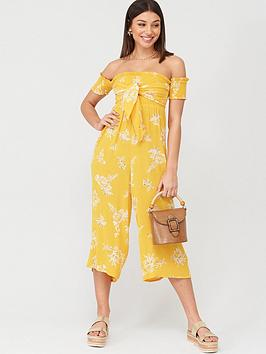 V by Very V By Very Shirred Knot Detail Bardot Beach Jumpsuit - Yellow Picture