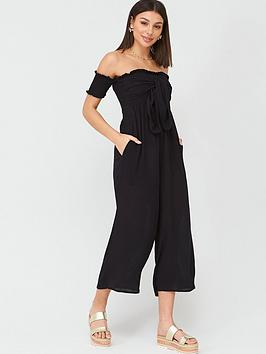 V by Very V By Very Shirred Knot Detail Bardot Beach Jumpsuit - Black Picture