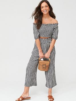 V by Very V By Very Gingham Bardot Co-Ord Top - Mono Gingham Picture