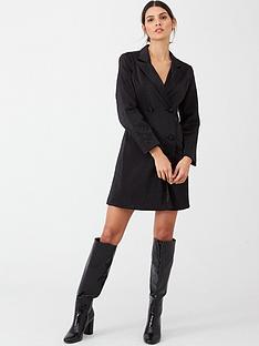 warehouse-structured-tuxedo-dress-black