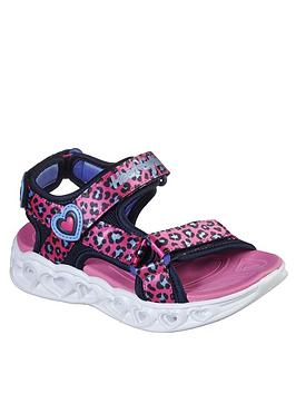 Skechers Skechers Girls Leopard Heart Lights Strap Sandals - Pink Picture
