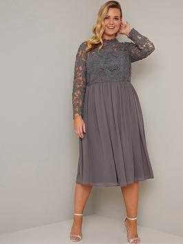 Chi Chi London Curve Chi Chi London Curve Zela Floral Lace Dress - Grey Picture