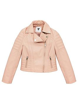 V by Very V By Very Girls Pu Biker Jacket - Blush Picture