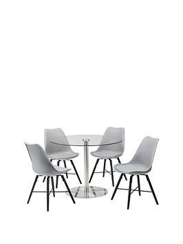 Julian Bowen Julian Bowen Milan Round 100 Cm Glass Dining Table + 4 Kari  ... Picture