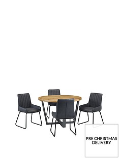 julian-bowen-brooklyn-120-cm-solid-oak-and-metal-round-dining-table-4-soho-chairs