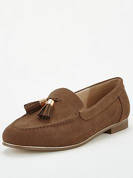 V by Very V By Very Molly Wide Fit Tassel Loafers - Dark Tan Picture