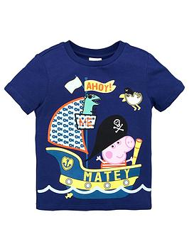 Peppa Pig Peppa Pig Boys George Pig Pirate Short Sleeve T-Shirt - Navy Picture