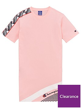 champion-girls-taped-t-shirt-dress-pink