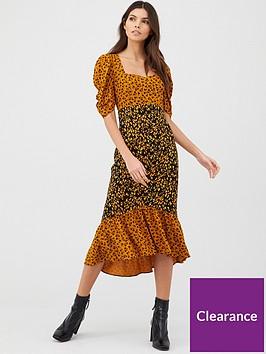 v-by-very-square-neck-midi-dress-print