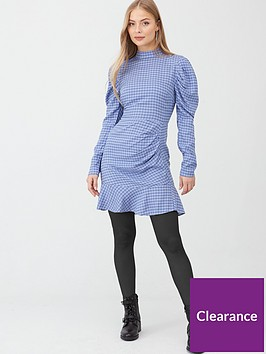 v-by-very-puff-sleeve-mini-dress-blue-check