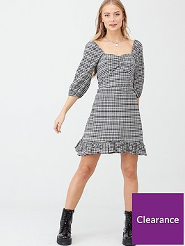 v-by-very-ruched-front-check-dress-monochrome-check