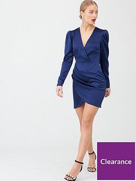 v-by-very-satin-wrap-mini-dress-blue