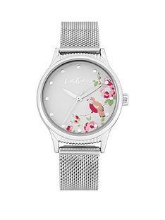 cath-kidston-cat-kidston-little-birds-print-silver-detail-dial-stainless-steel-mesh-strap-ladies-watch