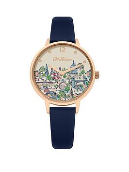 Cath Kidston London View Printed Dial Navy Leather Strap Ladies Watch