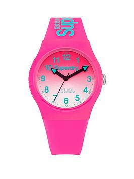 Superdry Superdry Superdy Urban Laser Pink Graduated Dial Pink Silicone  ... Picture