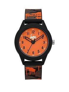 hype-hype-orange-and-grey-detail-dial-army-print-silicone-strap-kids-watch