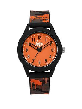 Hype Hype Hype Orange And Grey Detail Dial Army Print Silicone Strap Kids  ... Picture