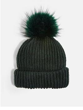 topshop-topshop-knitted-faux-fur-pom-pom-hat-green