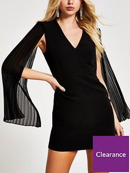 river-island-river-island-pleat-sleeve-bodycon-dress--black