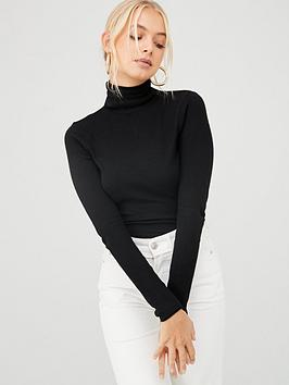 River Island River Island River Island Roll Neck Fitted Jumper-Black Picture