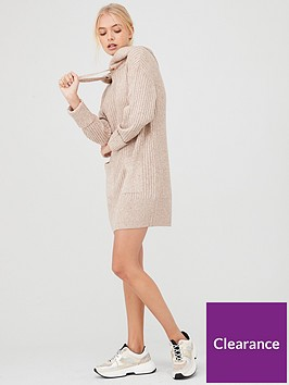 river-island-river-island-knitted-hoody-dress--neutral