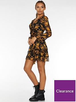 quiz-floral-mesh-skater-dress-black-mustard