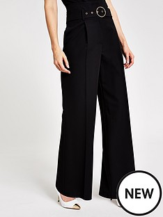 river-island-river-island-wide-leg-belted-trousers--black