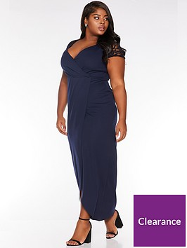 quiz-curve-quiz-curve-navy-cap-sleeve-wrap-maxi-dress