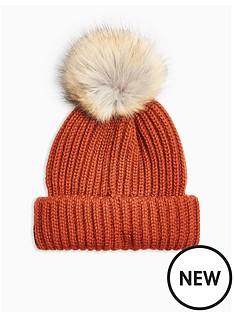topshop-topshop-faux-fur-pom-pom-hat-brown