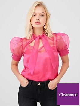 river-island-river-island-sheer-organza-short-puff-sleeve-top-pink