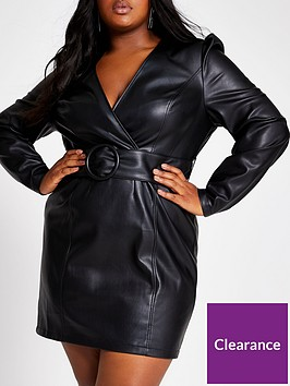 ri-plus-pu-belted-bodycon-dress-black