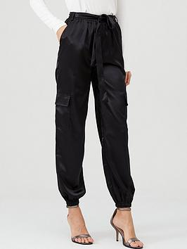 V by Very V By Very Satin Pocket Detail Utility Trouser - Black
