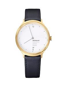 mondaine-mondaine-swiss-made-helvetica-no1-light-white-sapphire-glass-date-dial-brushed-gold-stainless-steel-38mm-case-black-leather-strap-watch