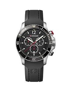 wenger-wenger-swiss-made-seaforce-black-and-silver-detail-chronograph-43mm-dial-black-silicone-strap-mens-watch