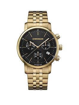 wenger-wenger-swiss-made-black-chronograph-44mm-dial-gold-stainless-steel-bracelet-mens-watch